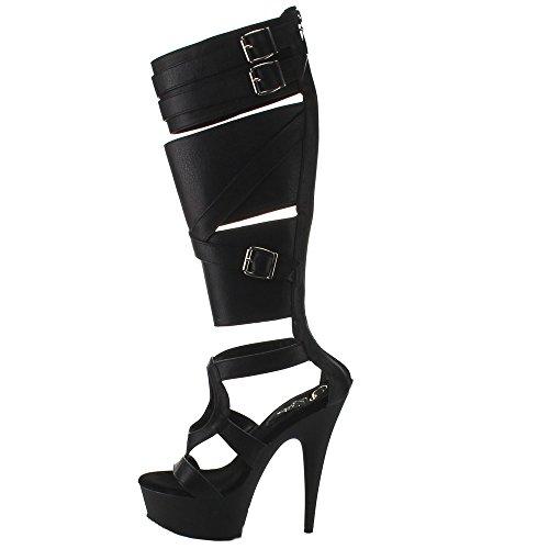 Pleaser DELIGHT-600-43 - Sandalias de vestir para mujer Blk Faux Leather/Blk Matte