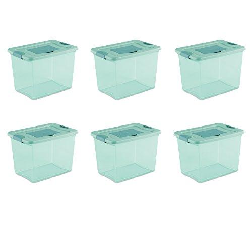 (Sterilite 15057Y06 25 Qt, 24L Fresh Scent Box, Aqua Tent base with Aqua Chrome Lid & Teal Splash Latches,)