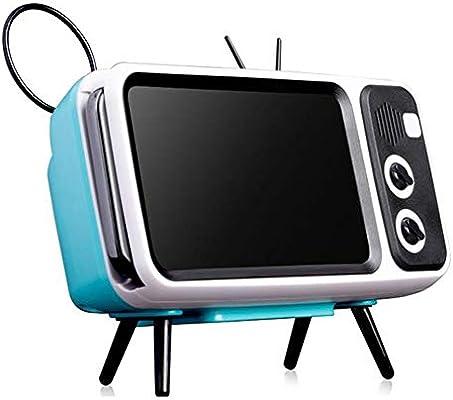 Byilx - Soporte 2 en 1 para teléfono móvil, diseño de televisor, Altavoz Bluetooth, Soporte para teléfono móvil, Dispositivo de Carga USB: Amazon.es: Jardín