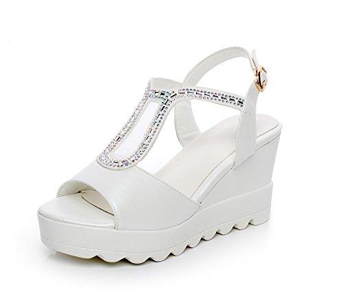 Toe Buckle White Solid High Women's Heels Open AgooLar Sandals ZxqFavw