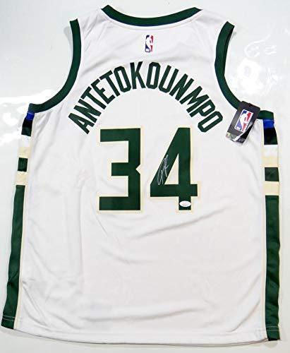 timeless design 19fa8 10e31 Giannis Antetokounmpo Autographed Milwaukee Bucks White ...