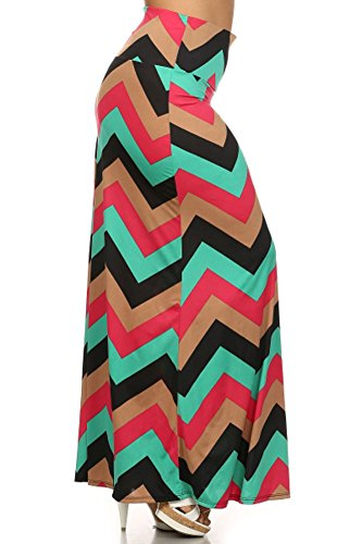 (Plus Size) Chevron Print High Waist Self Banded Maxi Skirt (MADE IN U.S.A)