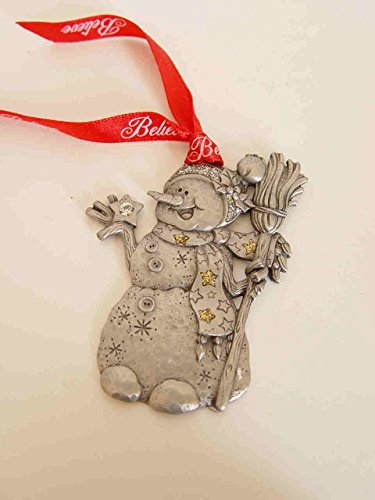 2007 Gloria Duchin Christmas Pewter Snowman Ornament Believe with Swarovski Crystal (Snowman Pewter Ornament)
