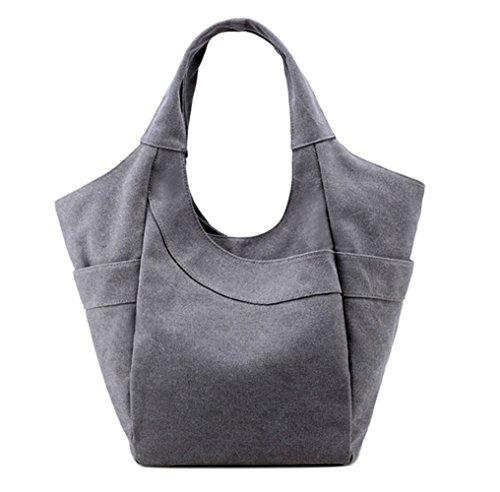 WLE Women's Canvas Pure Color Shopping Bag Handbag Weekend Bag, Eco Bag Art Simple Handbag, Left and Right 2 Side Bag.(grey)