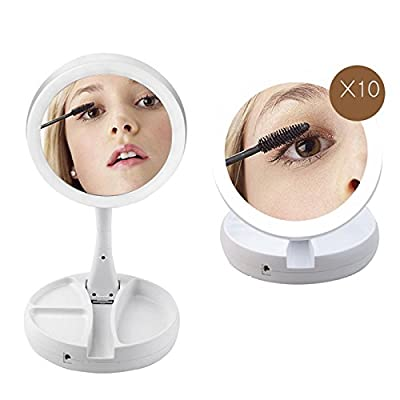Amyove Double-sided Rotation Folding Makeup Mirror LEDs Lighted Tabletop Lamp Cosmetic Mirror Makeup Tools