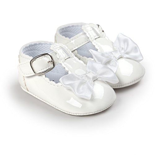 QGAKAGO Infant Baby Girls' Princess PU Leather Mary Jane Shoes Soft Sole Bowknot Shoes (M: 4.73 inch(6~12 Months), Milky White)