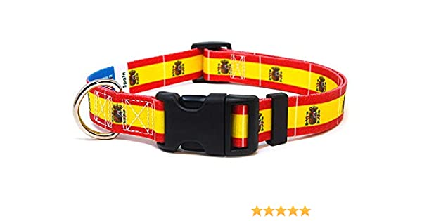PatriaPet Dog Collar with The Spain Flag | Great for National Holidays, Special Events, Festivals, Independence Days and Every Day Strong Safe | ...