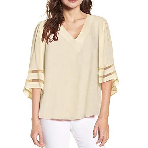(Shy Velvet Women's V Neck 3/4 Bell Sleeve Chiffon Blouse Mesh Panel Loose Top Shirts Beige)