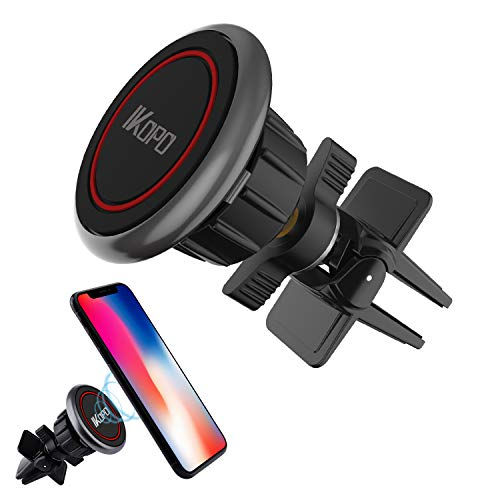 (IKOPO Magnetic Phone Car Mount,Cell Phone Holder for Car Air Vent with Strong Magnetic Suitable for Any Smartphones (Red))