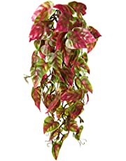 Penn-Plax Reptology Climber Vine Reptile Terrarium Plant Decor Red & Green 12inch (REP422)