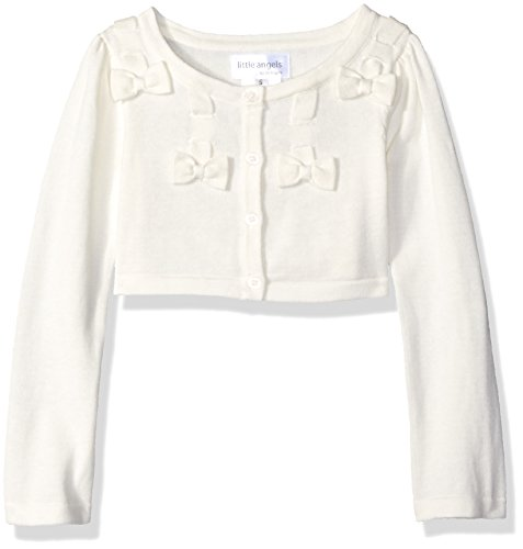 Little Angels Little Girls' Bow Withscalloped Edge Cardigan, Ivory, 6 by Little Angels