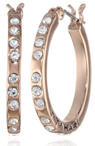 UPC 748838300755, T Tahari Small Crystal Rose Hoop Earrings