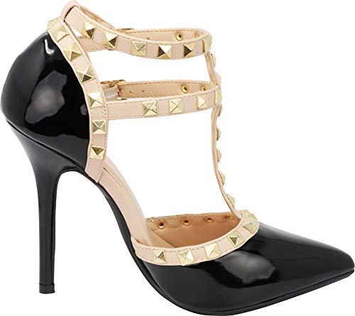 Strap Black Pointy Ankle Diva Wild Sandal Heel Womens Stud Gold Pump Strappy Stiletto Toe Patpu T xHzq6zw