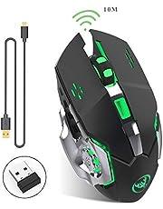 Ratón inalámbrico Recargable para Juegos--Manba, 2.4G USB LED Optical Silent Wireless gaming Mouse, Auto Sleeping, Ergonomics Grip, 3 dpi Ajustable(800 DPI,1600 DPI,2400 DPI), 7 Botones compatibles con computadora portátil/PC/portátil Ratón inalámbrico para Juegos
