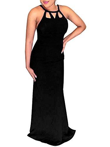 long black halter neck evening dress - 4