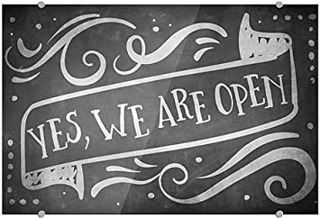 5-Pack CGSignLab 24x6 Yes We are Open Stripes White Premium Acrylic Sign