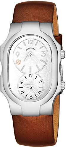 Philip Stein Signature Womens Natural Frequency Technology Watch - Classic White Face Dual Time Zone Ladies Watch - Bronze Satin Leather Band Analog Quartz Stainless Steel Fashion Watches for Women