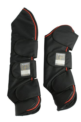 Rambo Grand Prix Travel Boots - Black/Tan, Orange & Black Cob by Horseware