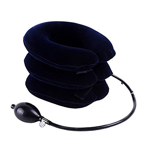 Ohuhu Neck Cervical Traction Collar Device For Neck Shoulder Back Head Pain Relief Inflatable Spine Alignment Pillow, Dark (Spine Neck)