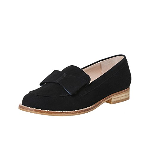 XYD Women Casual Low Heel Bow Flats Closed Toe Slip On Dress Shoes Comfortable Loafers Black clearance sale online ZlMc3xC1Yb