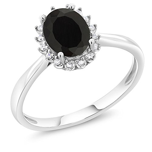 [10K White Gold 1.25 Ct Oval Black Onyx Engagement Ring with Diamonds] (10k Gold Onyx Diamond Ring)