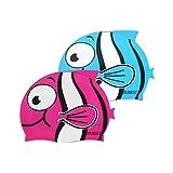 EUBEST Kids Silicone Swim Caps (2 Pack) (Rose + Blue)