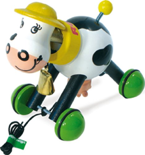 Vilac Pull Toy, Rosy The Cow (Wooden Cow Pull Toy)