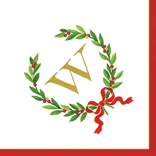 Entertaining with Caspari Christmas Laurel Wreath Monogram Initial W Paper Cocktail Napkins, Pack of 20