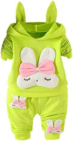 cf91e8107dd5 kaiCran Toddler Infant Baby Rabbit Long Sleeve Hoodie Tops Sweatsuit Pants  Outfit Set for Baby Girls