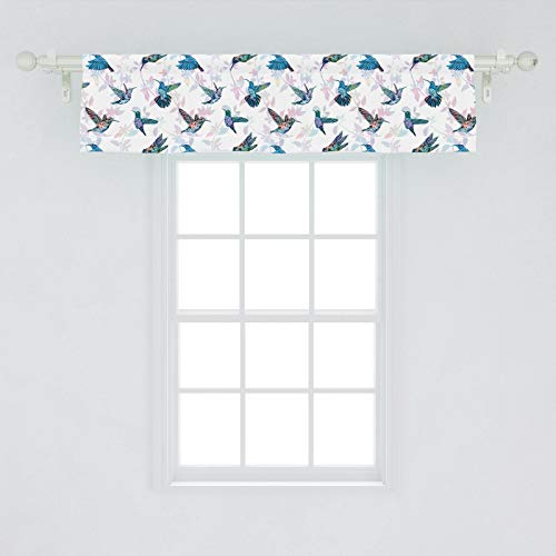 Lunarable Hummingbirds Window Valance, Tropical Animal Pattern Wildlife Inspirations Exotic Flying Creatures Print, Curtain Valance for Kitchen Bedroom Decor with Rod Pocket, 54