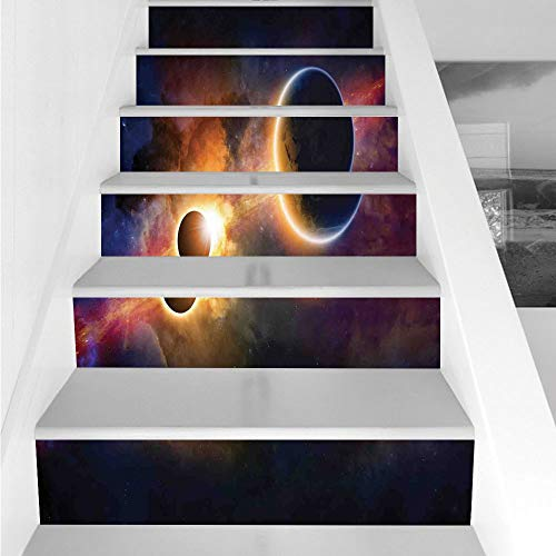Stair Stickers Wall Stickers,6 PCS Self-adhesive,Outer Space Decor,Planet in Milky Way Dark Nebula Gas Cloud Celestial Solar Eclipse Galaxy Theme,Multi,Stair Riser Decal for Living Room, Hall, Kids Ro by iPrint