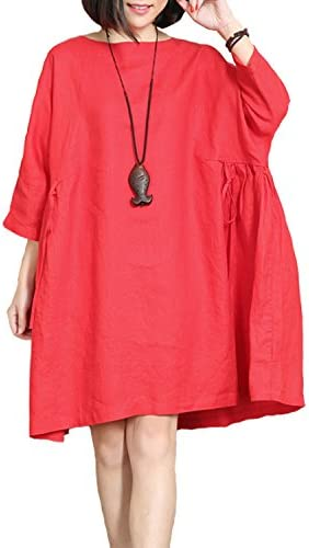 Special price M size. Fashion loose-fitting knitted red linen blouse