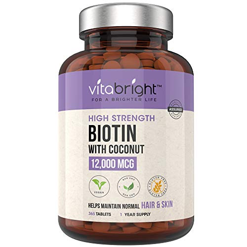 Biotin Hair Growth Supplement 12,000mcg – 365 High Strength Biotin Tablets for Hair – 1 Year Supply – Vegan Friendly…