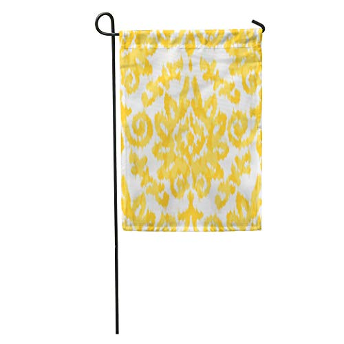 Semtomn Garden Flag Antique Ikat Damask Pattern Elizabethan Flower Retro Vintage Wall Home Yard House Decor Barnner Outdoor Stand 28x40 Inches Flag
