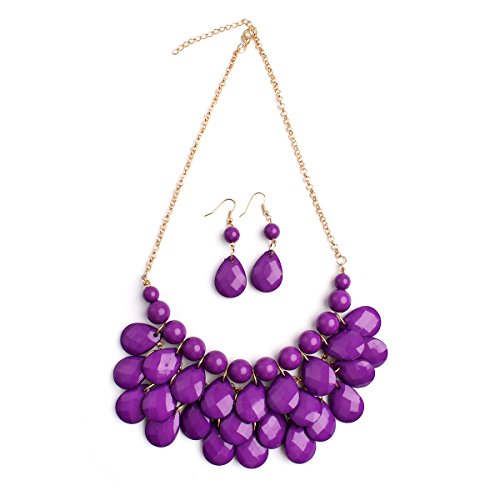 MYS Collection Riah Fashion Women's Floating Bubble Necklace Teardrop Bib Collar Statement Jewelry (Dark Purple) (Drop Bib Necklace)