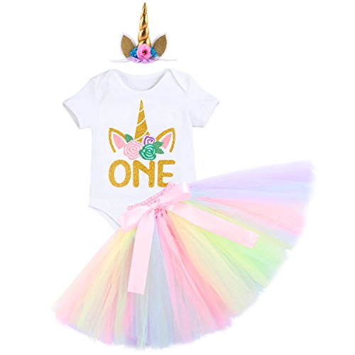 Baby Girls Newborn Flower Unicorn 1st ONE Birthday Cake Smash Crown 3Pcs Outfits Princess Top Bodysuit Romper+Tutu Skirt Dress+Headband Tulle Party Photo Props Clothes Set White Unicorn 12-18 Months