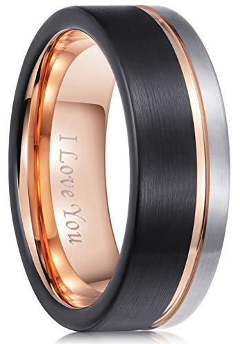 Carbide Wedding Band Men Women Rose Gold Line Ring-Silver Black Brushed-Engraved 'I Love You' Comfort Fit ()