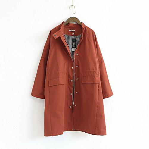 Solid Long button DYF sleeve Red Iron Women Color Coat Collar Pocket Windbreaker q8t8HwB