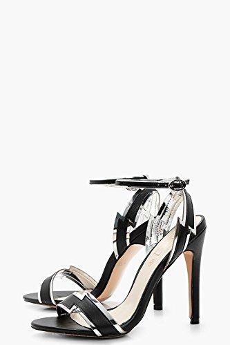Damen Schwarz Zweiteilige Sandalen Mit Absatz Und Blitz Schwarz