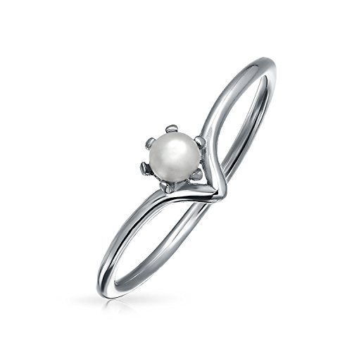 Bling Jewelry V Rhodium Plated 925 Silver Freshwater Cultured Pearl Ring (Ring Bling Stackable Silver)