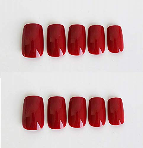 Easy Do It Yourself Halloween Nail Art (MISUD Flake Nail 96Pcs Square Glossy Wine Red Fake Nails Full Cover Art Acrylic Press-on Nail Kit for Young)