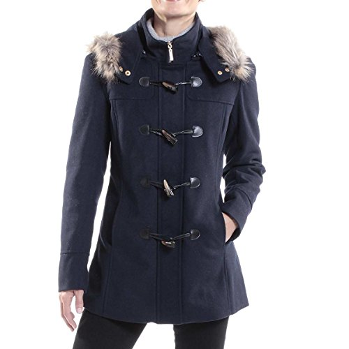 alpine swiss Duffy Womens Navy Wool Coat Fur Trim Hooded Parka Jacket Small