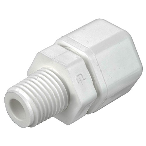 Parker W6MC2 Compression Style Plastic Fitting, Fast-Tite, Tube to Pipe, White Polypropylene, Compression and NPTF Connector, 3/8