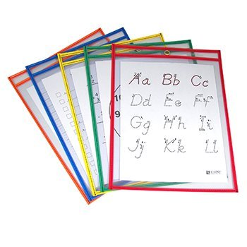 C-Line Reusable Dry Erase Pockets, 9 x 12, Assorted Primary Colors, 5/Pack by C-Line