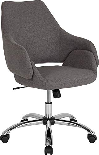 StarSun Depot Madrid Home and Office Upholstered Mid-Back Chair in Dark Gray Fabric 27