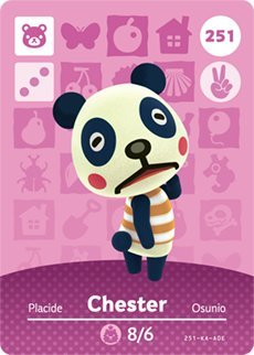 Chester - Nintendo Animal Crossing Happy Home Designer Amiibo Card - 251