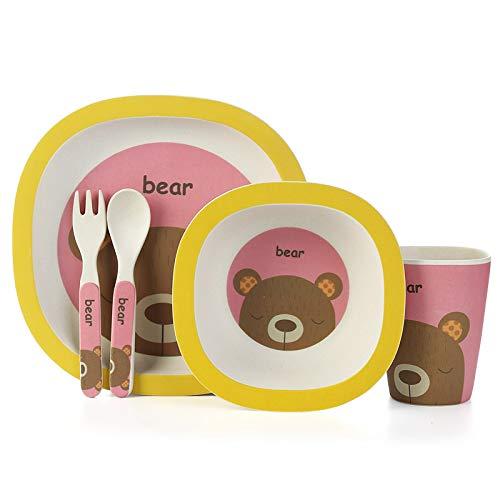 Autumn Water 5pc/set kid Dishes Bowl Cup Plates Sets Bamboo Fiber Cute Cartoon Feeding Toddler Tableware ren Dinnerware Set ()