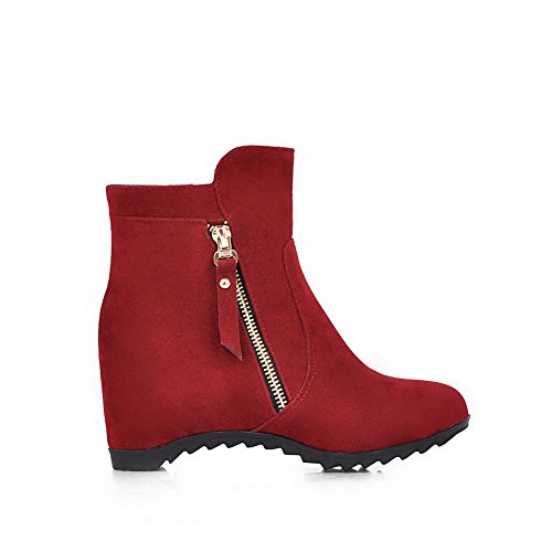 Red Heels AgooLar top Boots Low Suede Kitten Solid Zipper Women's Imitated qqZ1vRn