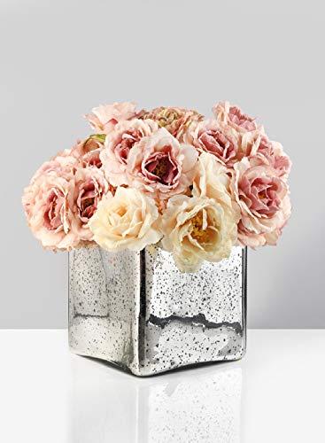 Mercury glass cube vase