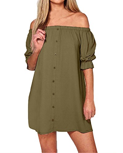 Women's Summer Fashion Casual Plus Size Short Sleeve Dress Green - 9